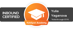 Inbound Certification Badge Yulia Yaganova